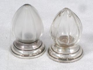 Antique Sterling Silver & Cut Glass Salt & Pepper Pots Or Shakers Dated 1914 photo