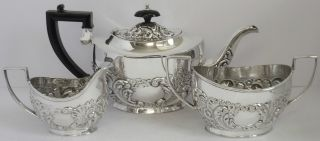 Silver Plated Tea Set Tea Pot C1900 Embossed Milk Jug Sugar Bowl Vintage photo