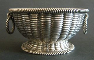Robert Hennell Unusual Solid Sterling Silver Table Basket Salt Bowl London 1849 photo
