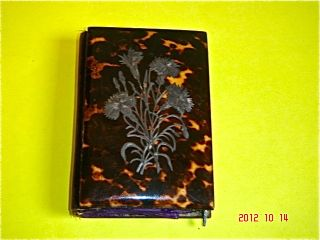 C.  1880 Faux Tortoise Shell W/inlaid Silver Card Case Notebook & Ox Bone Pencil photo
