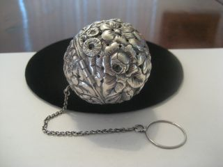 Rare Sterling Baltimore Rose Tea Ball Infuser,  J.  F.  Fradley & Co New York C1880 photo