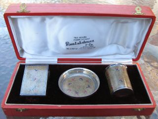 Fine & Rare Antique Indian Silver Enamel Smokers Set photo