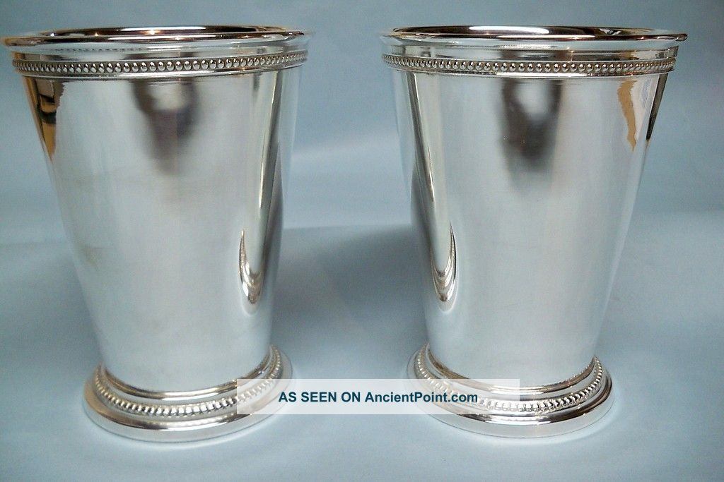 Pair Silverplate Mint Julep Cups - Heavy/beading - Very Fine - Clean And Table Ready Cups & Goblets photo