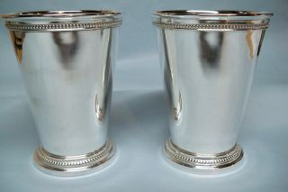 Pair Silverplate Mint Julep Cups - Heavy/beading - Very Fine - Clean And Table Ready photo
