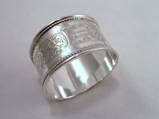 Ornate Sterling Silver Napkin Ring ' Joan ' 1894 photo