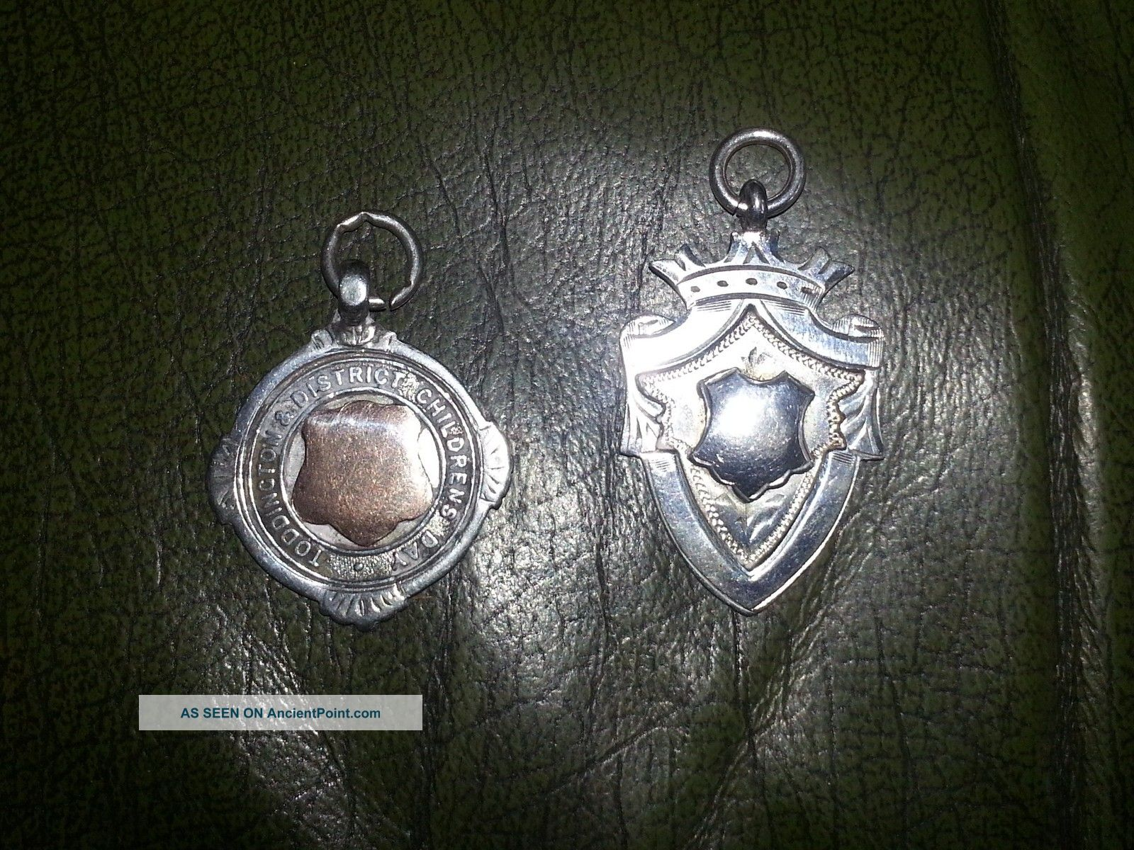 2 Solid Silver/gold Fobs/medals - Toddington Childrens Day C.  1925 Pocket Watches/ Chains/ Fobs photo