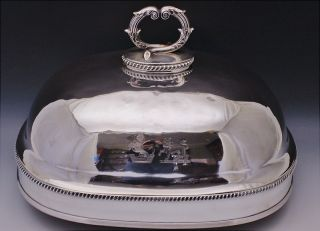 Rare Largec1790 Georgian Silver Old Sheffield Plate Double Armorial Platter Dome photo