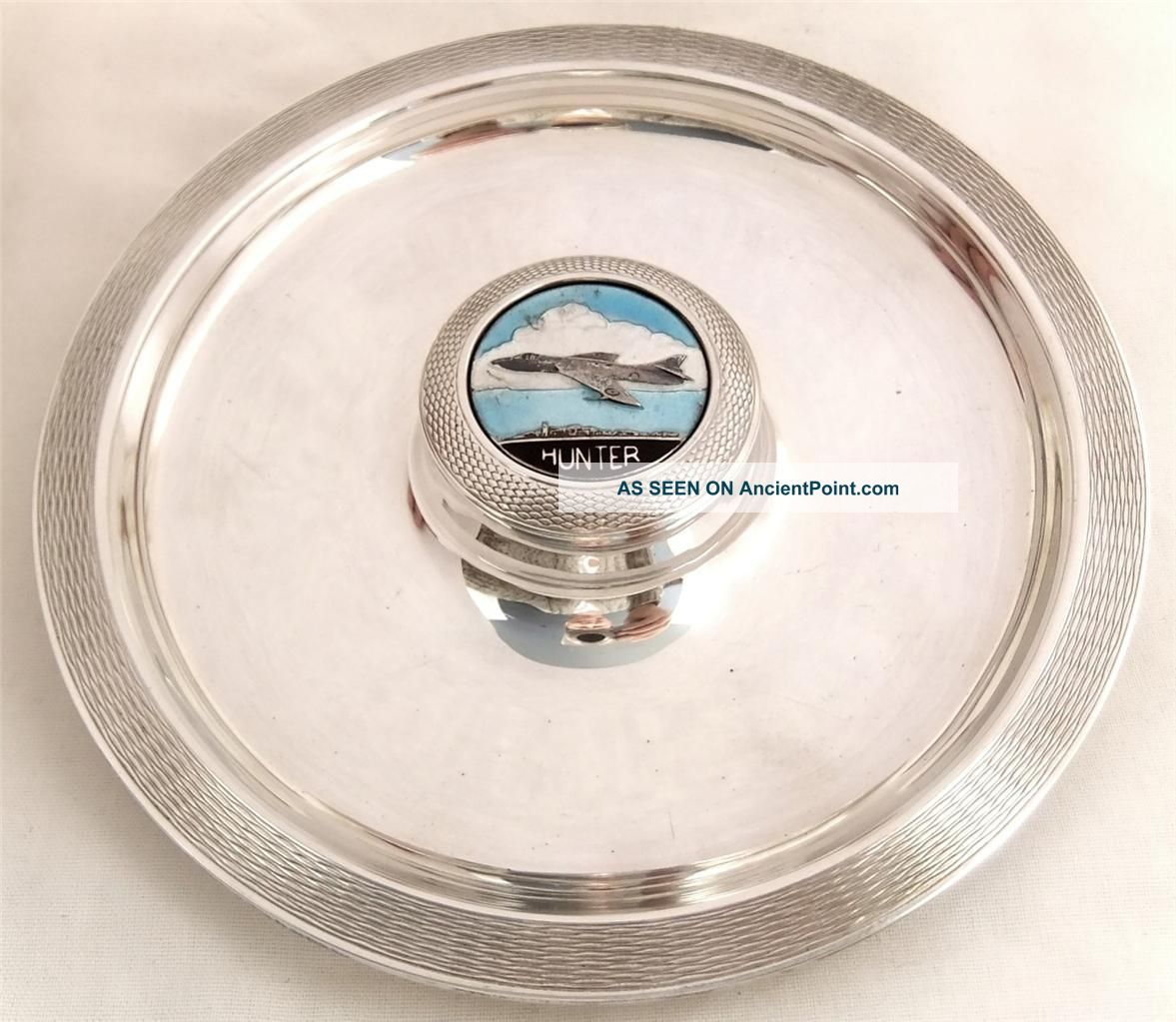 Hallmarked Solid Sterling Silver Dish 1958 - Hawker Hunter Fighter Jet Plane Dishes & Coasters photo