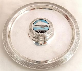 Hallmarked Solid Sterling Silver Dish 1958 - Hawker Hunter Fighter Jet Plane photo