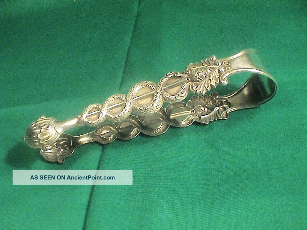 Antique Solid Silver Large Sugar Or Ice Tongues Snakes Germany Germany photo