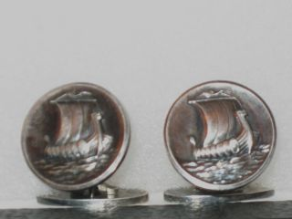 Vintage Georg Jensen Sterling Silver Viking Ship Cufflinks. photo