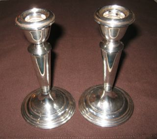 Pair Of Vintage Sterling Silver Weighted Candlesticks By Newport Sterling photo