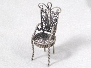 Antique Solid Silver Filigree Decorated Dolls House Miniature Chair Circa 1895 photo