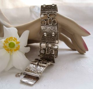 Vintage Solid Silver Bracelet,  Modernist,  1970's,  Retro,  57.  3 G photo