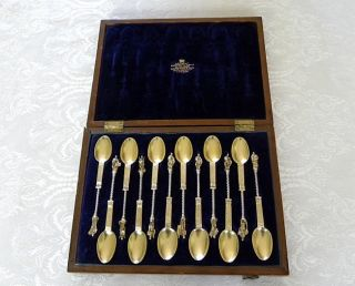 12 Silver Gilt Apostle Spoons Pseudo Marks In London Case 253 Grams Scrap C 1910 photo