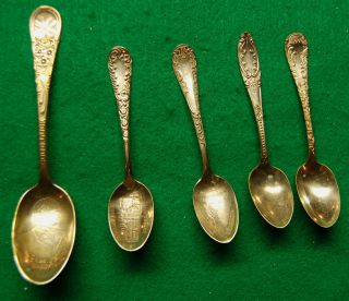 5 Silver Plated Souvenir Spoons.  Pres.  Mckinley,  Boston,  Niagra Falls,  2 Others photo