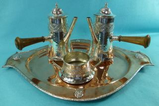 Arts & Crafts Sterling Silver & Copper 3pcs Tea Set & Tray A E Jones 1919 photo