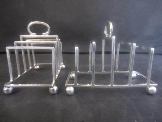 Pair Of Solid Silver Art Deco Four Slice Toast Racks - London 1915 photo