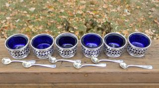 6 Gorham Chantilly Sterling Silver Cobalt Salt Cellars & 6 Gorham Salt Spoons photo