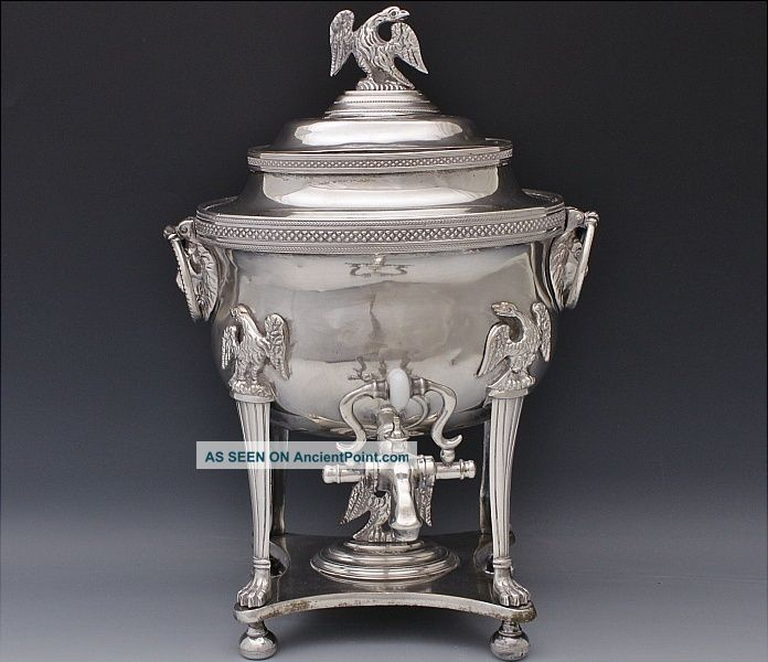Amazing C1820 Georgian Silver Sheffield Plate Eagle Figural Samovar Tea Urn N/r Tea/Coffee Pots & Sets photo