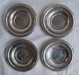 "4 Deco Sterling 110 Gm 3 ½"" Demitasse Saucers. photo"