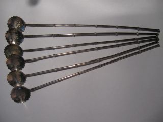 . 925 Sterilng Silver Vintage 6 Iced Tea Spoons / Straws photo