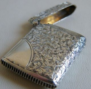 Antique Solid Silver Vesta Case Circa 1896 Maker M & L? Fully Hallmarked photo