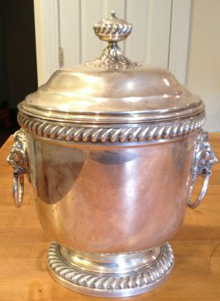 Webster & Wilcox International Silver Co Large Ice Bucket Lion Heads photo