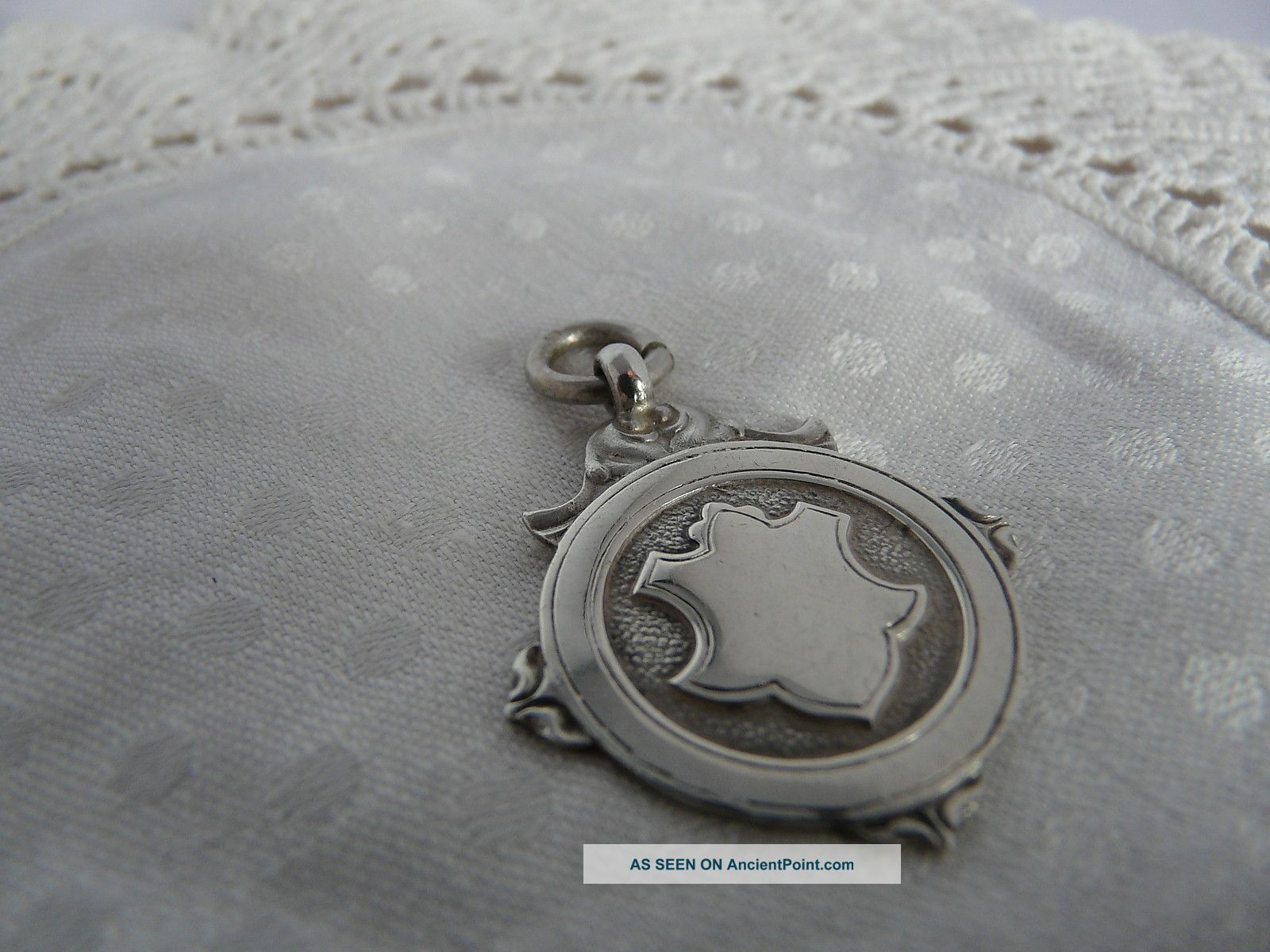 Vintage Solid Silver Shield Fob,  1928 Pocket Watches/ Chains/ Fobs photo