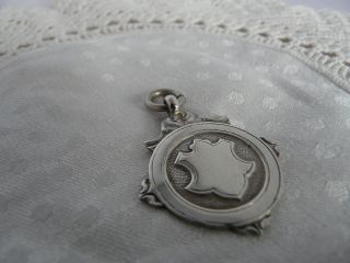 Vintage Solid Silver Shield Fob,  1928 photo