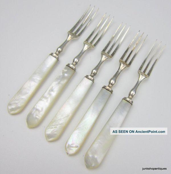 5 Quality Antique 1920 ' S Mother Of Pearl & Silver Plate Dessert Fruit Forks Other photo