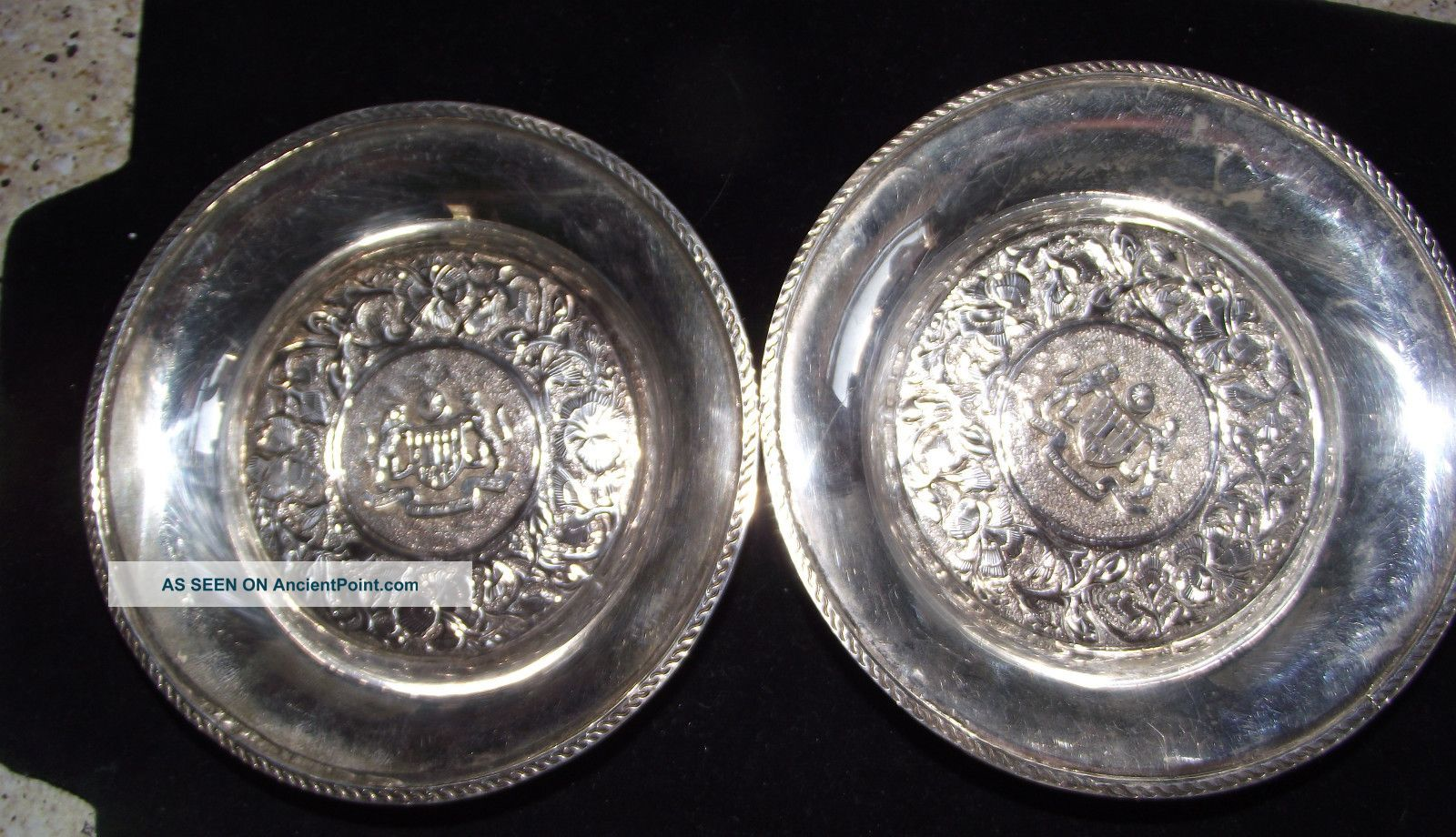 Vintage Pair Of Taba Sterling Silver 925 Coasters 86.  3 Grams Malaysia Scrap Dishes & Coasters photo