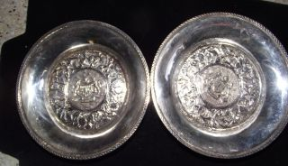 Vintage Pair Of Taba Sterling Silver 925 Coasters 86.  3 Grams Malaysia Scrap photo