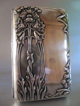 ‹ (•¿•) › An Antique Art Nouveau 800 Silver Cigarette Case photo