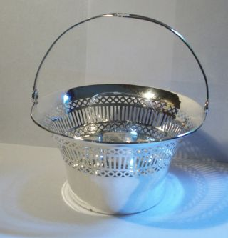 Antique Sterling Silver Manufacturing Company Reticulate Handled Basket 0164 photo