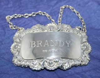 Pretty Vintage English Solid Silver Brandy Decanter Label By John Rose 1968 photo