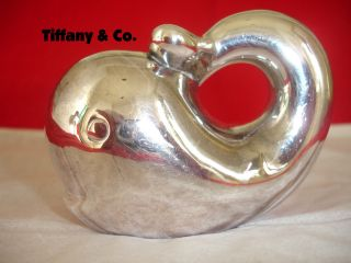 Tiffany & Co. .  925 Sterling Silver Whale Baby Rattle Teether Toy Collectible photo