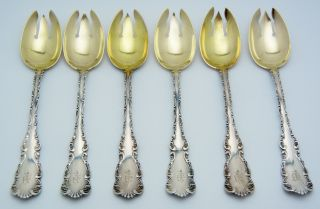 6 - Birks Sterling Silver Ice Cream Forks Louis Xv Gold Wash photo