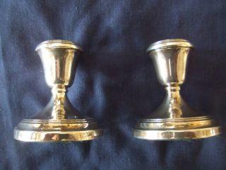Pair Of Dwarf Solid Silver Weighted Candlesticks Hallmarked Birmingham 1924 photo