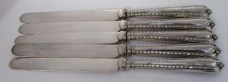 Lovely Set Antique Sterling Silver Handled Knives.  Sheffield,  1910 photo