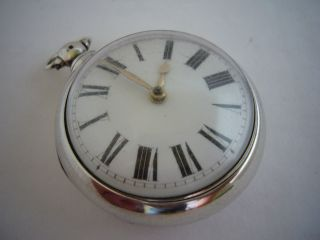 An Antique Solid Silver Pair Cased Verge Fusee Pocket Watch photo