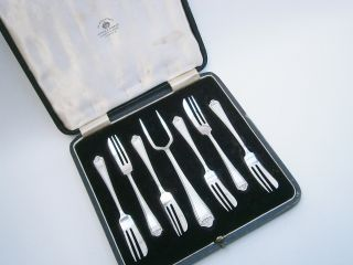 Vintage Cased Silver Plated Pastry Forks (6) photo