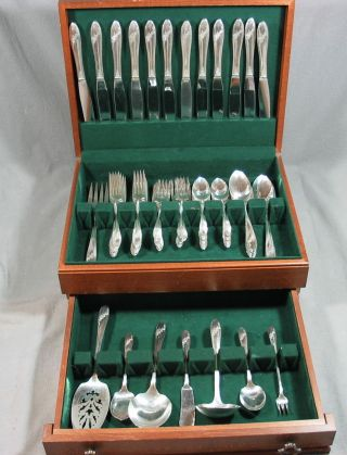 71 Pc Oneida Tudor Queen Bess Silverplate Flatware +chest 12 Place Settings photo