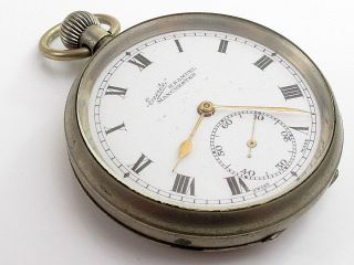 Antique H Samuel Chunky White Metal Open Face Case Pocket Watch photo