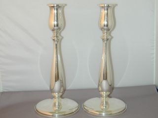 Pair Vintage Tall Cartier Candlesticks Sterling Silver photo
