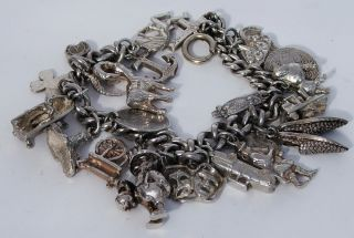 Fabulous Heavy Antique Solid Sterling Silver Charm Bracelet & 22 Charms photo
