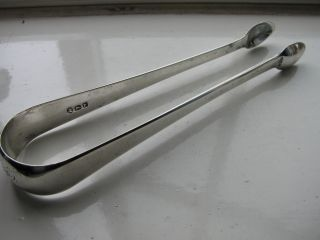 George Iii Solid Silver Sugar Tongs Hallmarked London 1801 photo