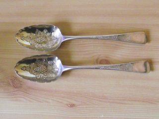 Georgian Hallmarked Silver Berry Spoons.  118 Grams. photo