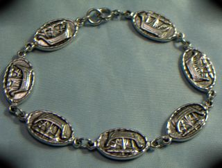 Vintage Scottish Iona Silver Celtic/viking Longboat Linked Bracelet photo