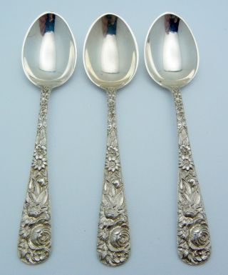 3 - S.  Kirk & Son Sterling Silver Demitasse Spoons Repousse photo